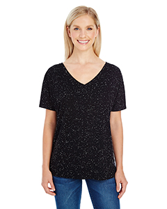 Wholesale Threadfast Apparel 203FV Ladies' Triblend Fleck Short-Sleeve V-Neck T-Shirt - BLACK FLECK