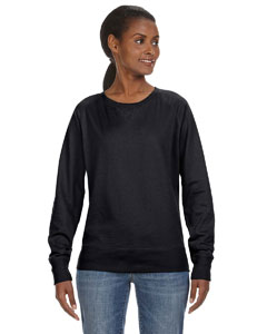 Wholesale LAT 3762 Ladies' Slouchy French Terry Pullover - BLACK