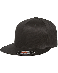 Wholesale Flexfit 6297F Adult Wooly Twill Pro Baseball On-Field Shape Cap with Flat Bill - BLACK