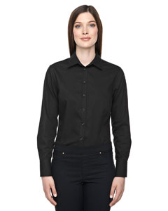 Wholesale Ash City - North End Sport Blue 78673 Ladies' Boulevard Wrinkle-Free Two-Ply 80's Cotton Dobby Taped Shirt with Oxford Twill - BLACK 703