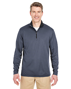 8237 Adult Two-Tone Keyhole Mesh Quarter-Zip Pullover