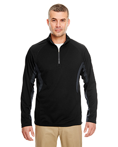 8434 Adult Cool & Dry Colorblock Dimple Mesh Quarter-Zip Pullover