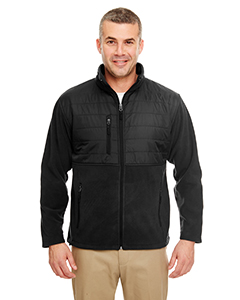 8492 Men's Fleece Jacket with Quilted Yoke Overlay
