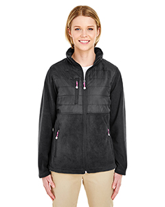8493 Ladies' Fleece Jacket with Quilted Yoke Overlay