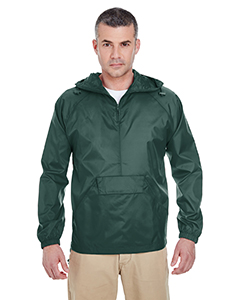 8925 Adult Quarter-Zip Hooded Pullover Pack-Away Jacket