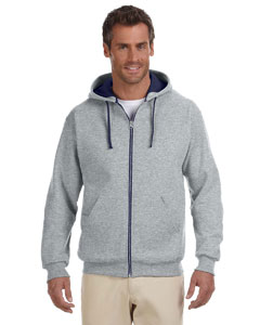 93CR Adult 8 oz. NuBlend® Contrast Full-Zip Hood