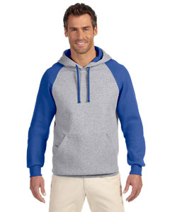 96CR Adult 8 oz. NuBlend® Colorblock Raglan Pullover Hood