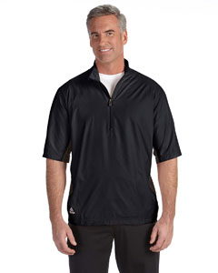 Wholesale adidas Golf A167 Men's climalite® Colorblock Half-Zip Wind Shirt - BLACK/ BLACK
