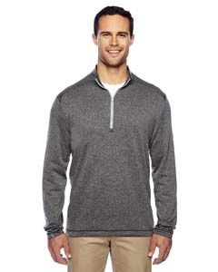 Wholesale adidas Golf A274 Men's Heather 3-Stripes Quarter-Zip Layering - BLK HTR/ MID GRY