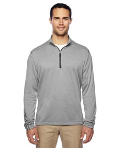 A274 Men's Heather 3-Stripes Quarter-Zip Layering