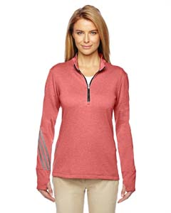 A275 Ladies' Heather 3-Stripes Quarter-Zip Layering