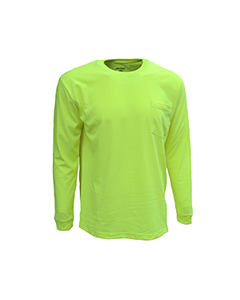 Wholesale Bright Shield B146 Adult Long-Sleeve Pocket Tee - SAFETY GREEN