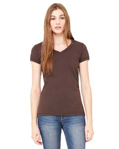 Wholesale Bella + Canvas B6005 Ladies' Jersey Short-Sleeve V-Neck T-Shirt - CHOCOLATE