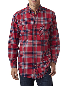 Wholesale Backpacker BP7001 Men's Yarn-Dyed Flannel Shirt - BLUE STUART