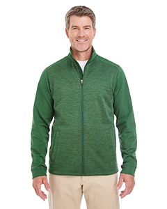 DG796 Men's Newbury Colorblock Mélange Fleece Full-zip