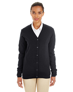 Wholesale Harriton M425W Ladies' Pilbloc™ V-Neck Button Cardigan Sweater - BLACK