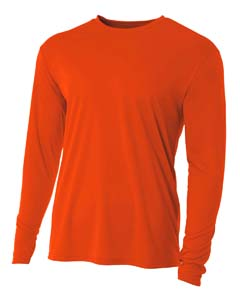 Wholesale A4 N3165 Men's Long-Sleeve Cooling Performance Crew - ATHLETIC ORANGE