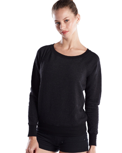 Wholesale US Blanks US870 Ladies' French Terry Raglan Boat Neck - TRI CHARCOAL